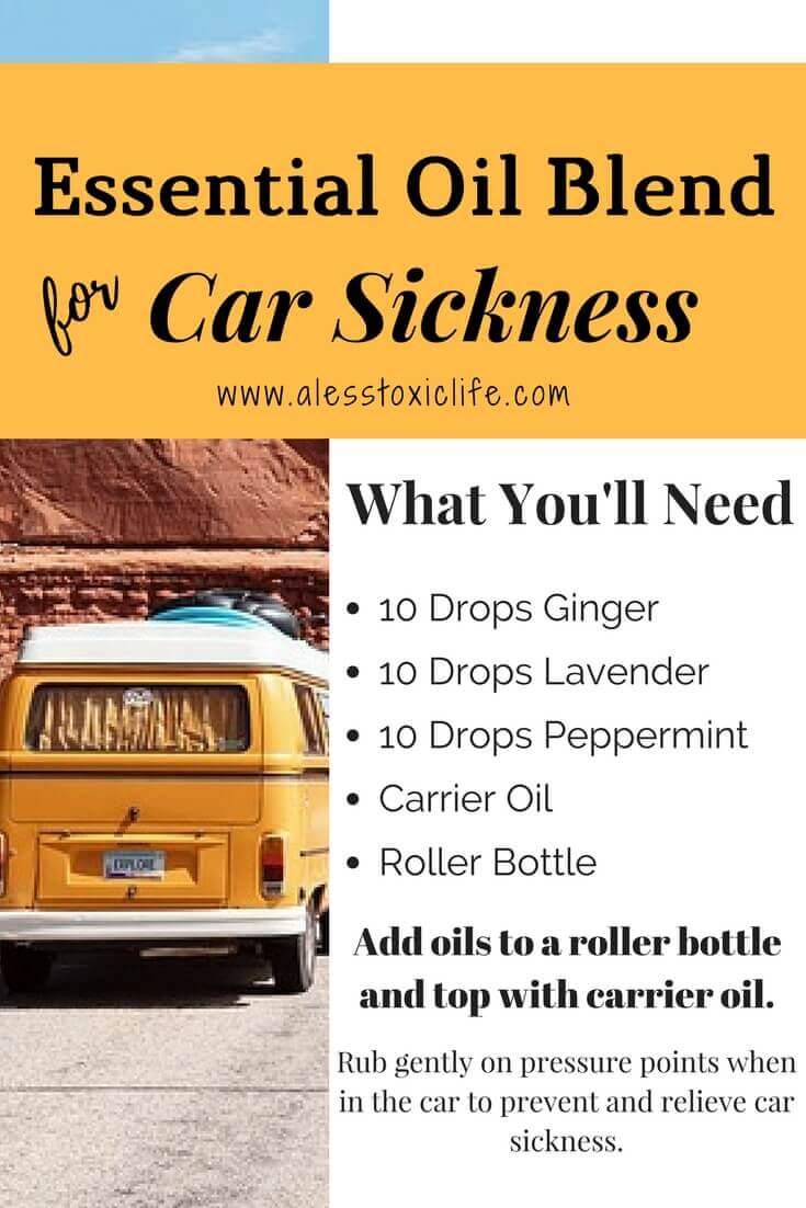 Essential oil roller blend for carsickness. Use ginger essential oil, lavender essential oil, and peppermint in a roller bottle.