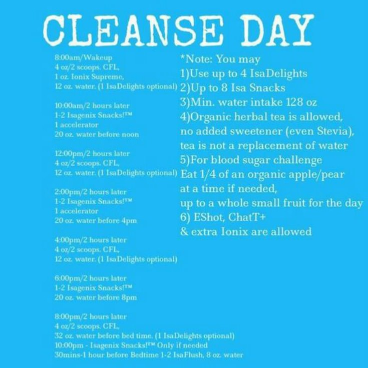 Cleanse Day Example Schedule