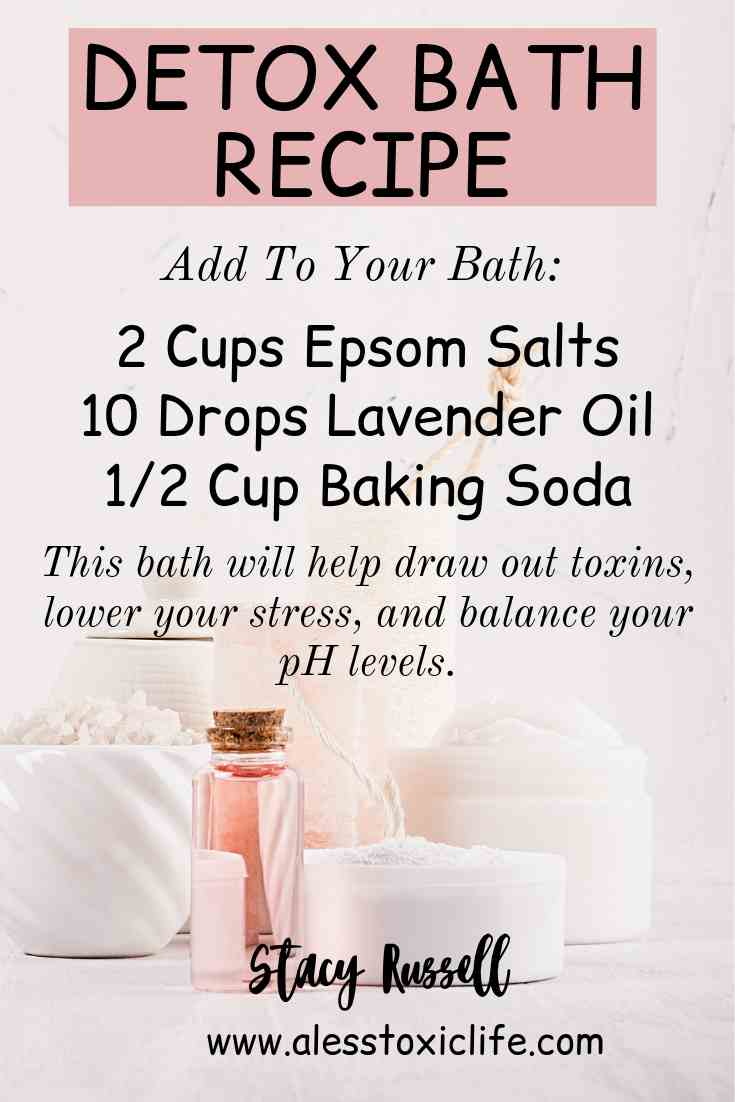 Detox Bath Recipe with epsom salt, lavender oil and baking soda
