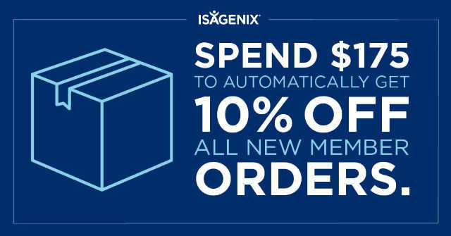Get a discount when you buy Isagenix products in December. Get 10% off automatcially in cart on new orders.