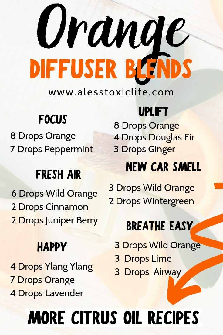 Orange essential oil can be used in the diffuser with other oils to make fabulous scents for your home and health.