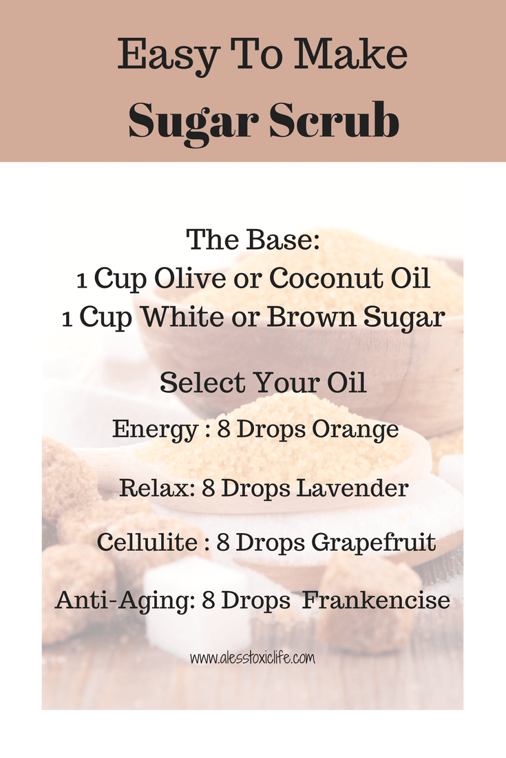Easy To Make Essential Oil Sugar Scrub https://www.alesstoxiclife.com/health/essential-oil-uses/